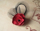 The Petite Bella Red and Black Fascinator Brooch Pin