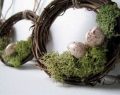 Woodland Wreath Moss Nest with Eggs Ornaments, Set of 10 for Christmas