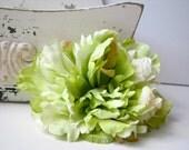 Large Pale Green Peony Hair Flower Clip, Light Apple Green