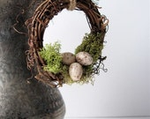 Rustic Wreath Ornament Nest with Moss and Eggs, Garden Decor