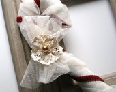 Candy Cane Christmas Decoration, Large Red and White Linen and Lace, 14 inch