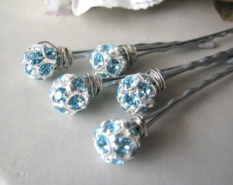 Aqua Rhinestone and Silver Hair Pin Set - Something Blue 10mm