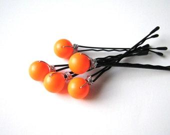 Neon Orange Hair Pins