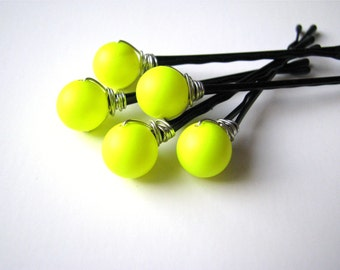 Neon Yellow Hair Pin Set