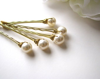 Cream Ivory Pearl Hair Pin Set Swarovski, 8mm
