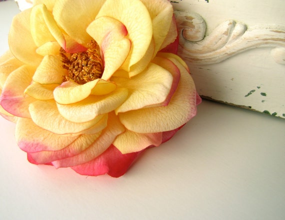 Pink and Yellow Rose Hair Flower, Realistic Wedding Hair Clip