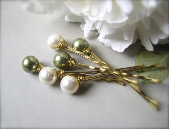 Hair Pin Pearls in Ivory and Green Swarovski