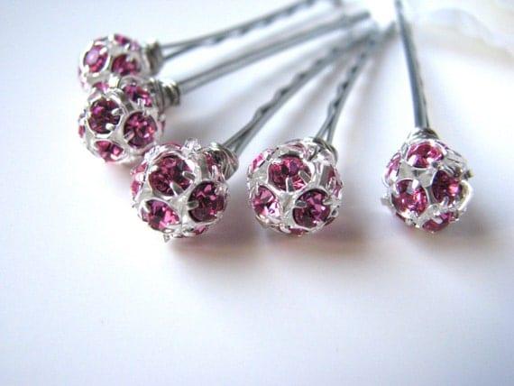 Rose Pink Rhinestone and Silver Wedding Hair Pins