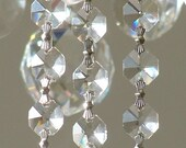 6 FT Sparkly Octagon Crystal chain - SILVER connectors, for chandelier, necklace etc'