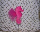 Seahorse hot pink minky dot plush toy