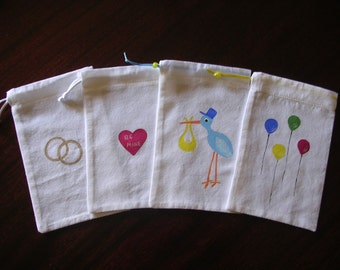 baby stork wedding rings heart balloons shower  party favor muslin bags  .  4 x 6