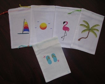 handpainted palm trees tropical sunset sailboat flamingo art party shower  favor muslin bags  4 x 6
