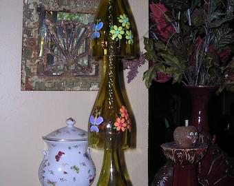 Butterfly and flowers wine bottle windchime