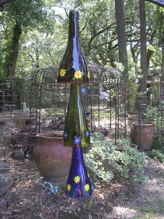 Garden yard bottle art recycled wine bottle Wind chime  SALE ITEM
