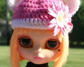 Cute Pink and White Teddy Bear Hat for Blythe