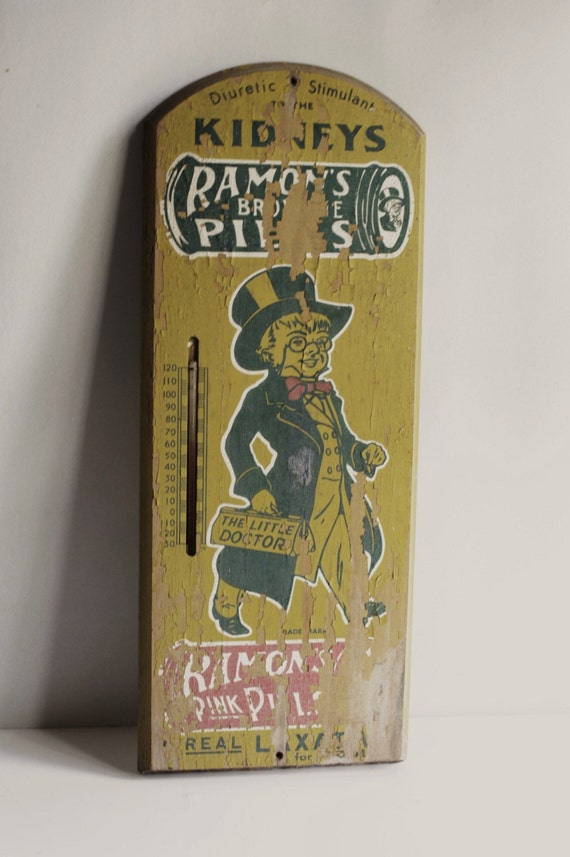 Ramon's Brownie Pills Painted Wooden Sign 1930s