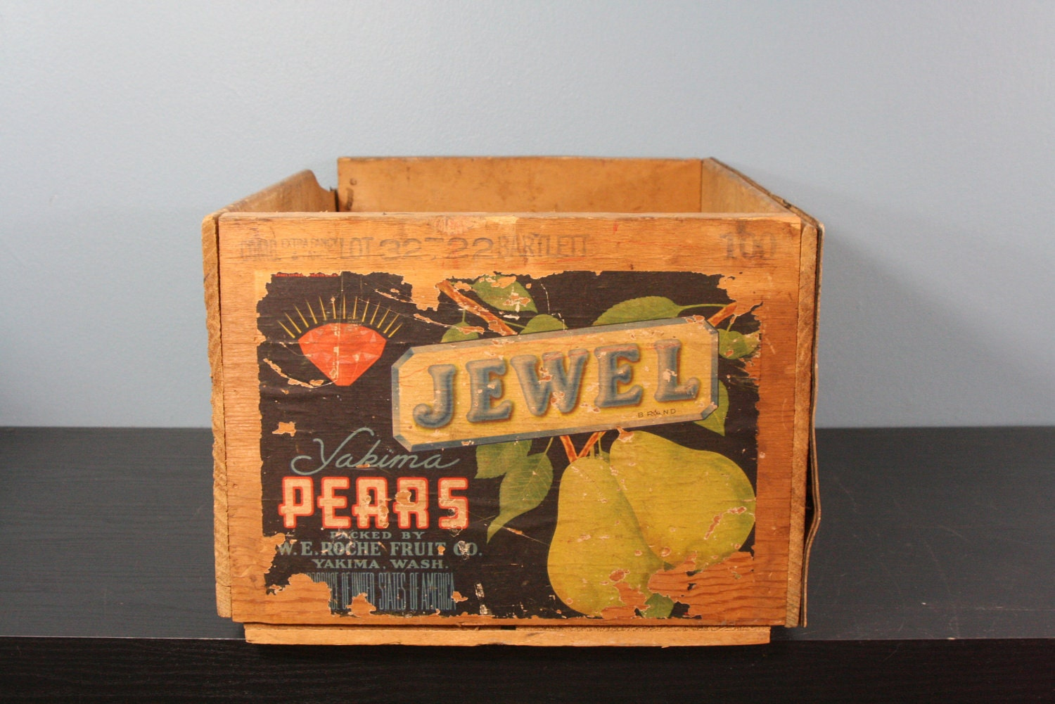 vintage pear crate fruit crate