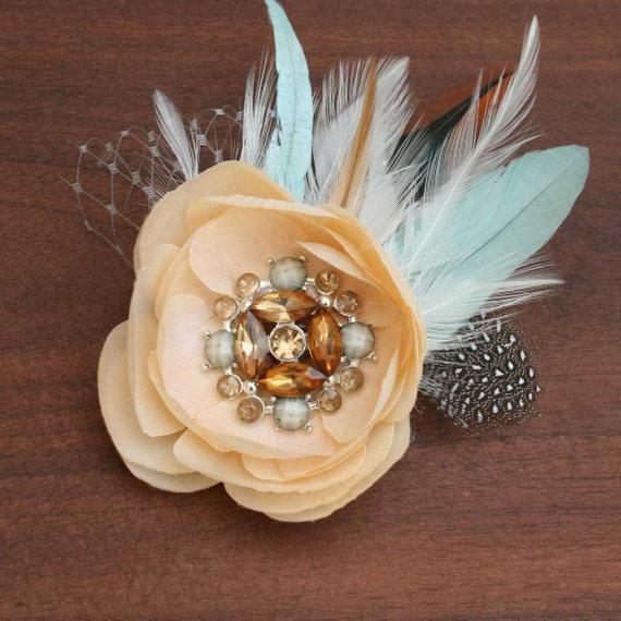 Bridal flower hair clip -Rose Fascinator -Romantic-Cream /Tan colored Cabbage rose- vintage rhinestone & Aqua feather accent-Garden wedding