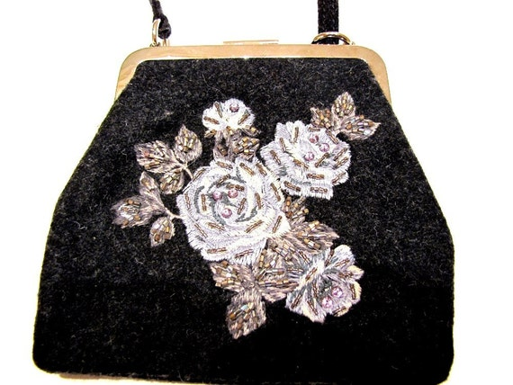 Vintage Handbag Designer Dolce And Gabbana Black Swarovski Crystals from AllieEtCie