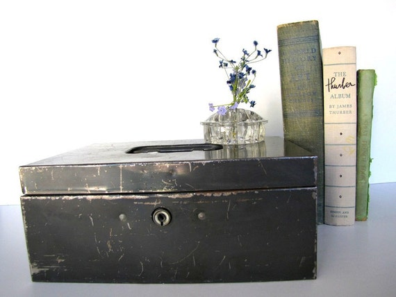 Industrial Metal Cash Box Vintage Storage Organization from AllieEtCie