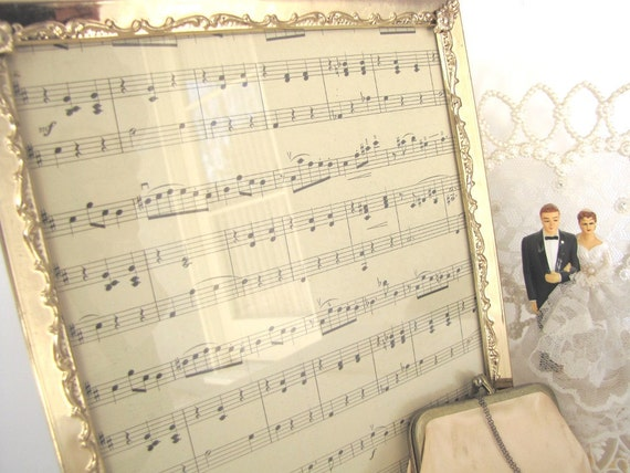 Vintage Photo Frame Gold 8x10 Photo Frame Picture Frame Antique Sheet Music In Frame Wedding Decor from AllieEtCie