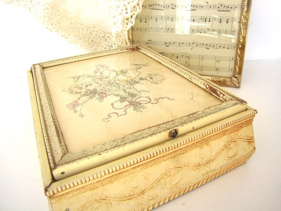 Vanity Dresser Box 1920s French Framed Pen and Ink from AllieEtCie