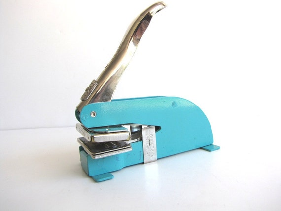 Industrial Letter Embosser Aqua Vintage Desk Accessory Pirouette from AllieEtCie