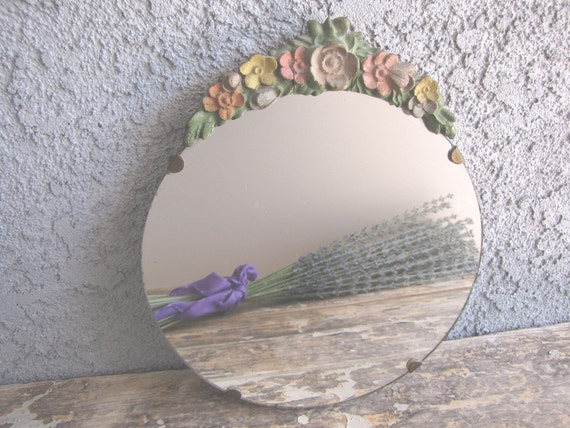 Antique Mirror Barbola English Roses Round from AllieEtCie