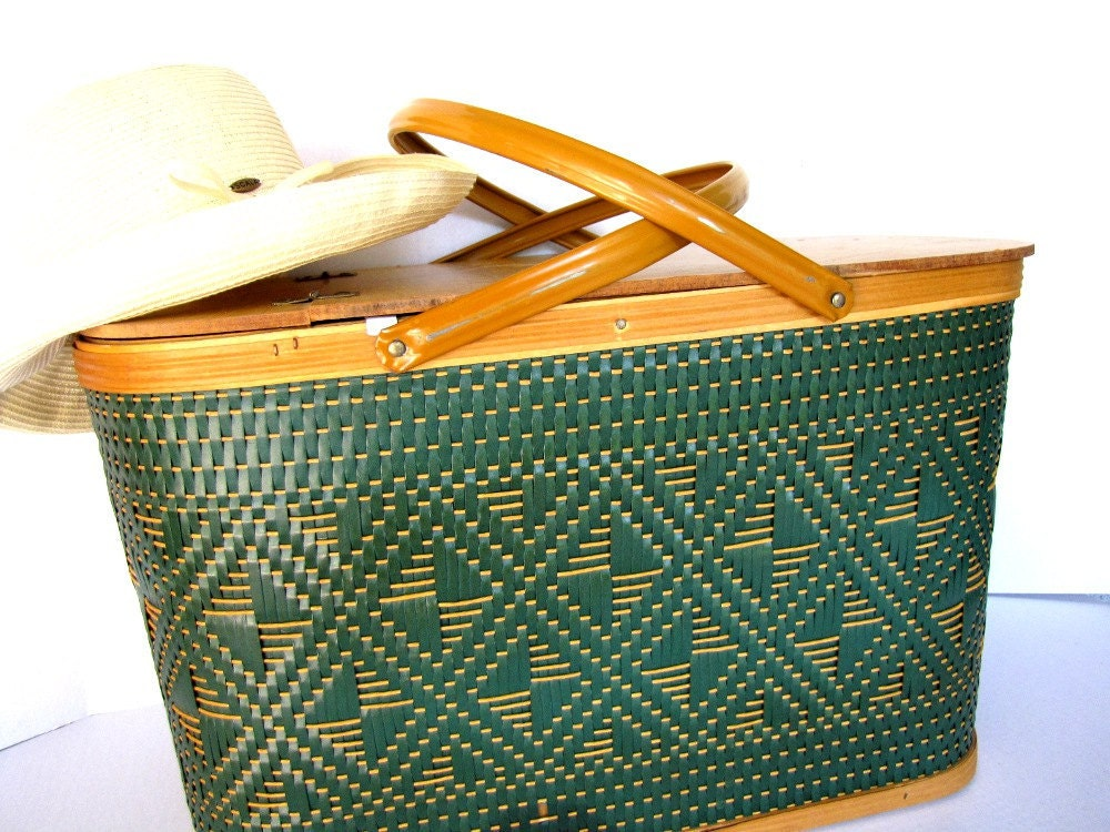 Picnic Basket Vintage Set Summer Food Hamper From Allieetcie