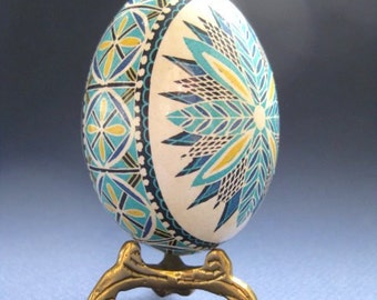 Blue Pysanka, batik egg on chicken egg shell, Ukrainian Easter egg, hand painted egg