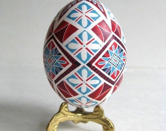 Pysanka- Ukrainian Easter egg, chicken egg shell hand painted batik style