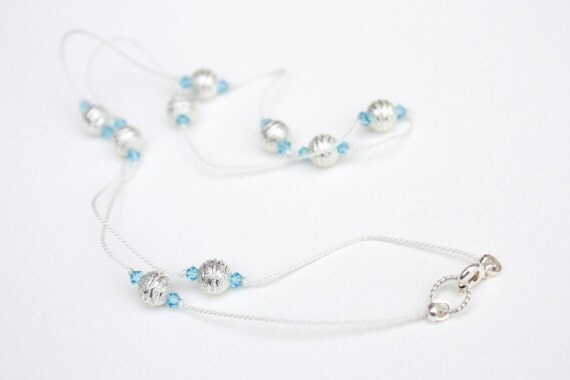 Swarovski Crystal and Sterling Silver Silk Knot Necklace