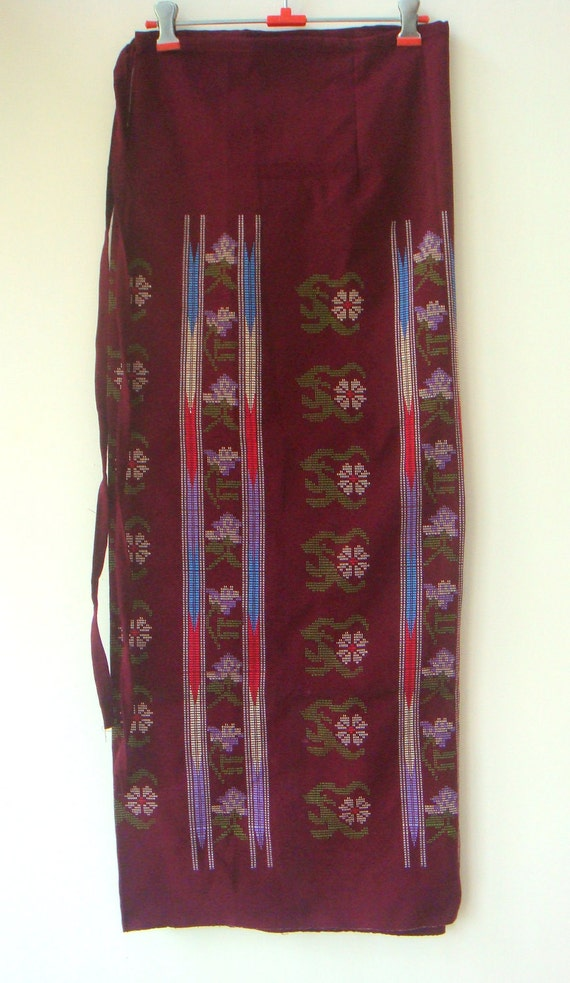 Pretty Maroon  Traditional Handwoven Long Wrap around skirt