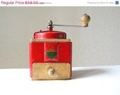 WEEKEND SALE vintage coffee grinder moulin a cafe red coffee mill