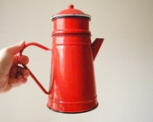 red enamel coffee pot vintage filter coffee pot
