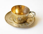 french antique tea cups and saucers engraved silver plated 2 cups and 2 saucers