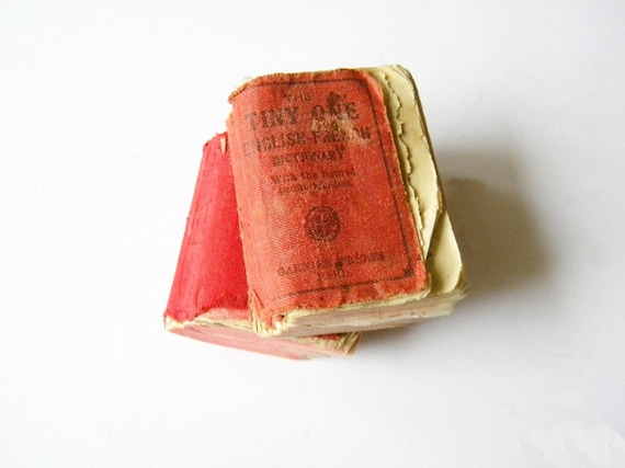 RESERVED  for  FLEASANTIQUES    2 vintage TINY dictionaries french english translation