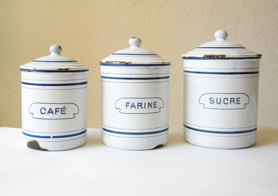 3 enamel canisters vintage enamelware kitchen canisters