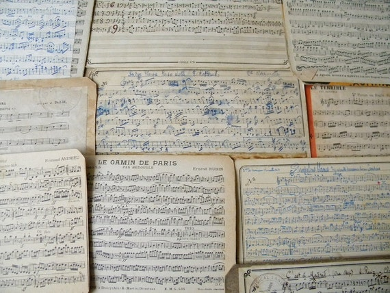 10 medium music french cards vintage and antique french music sheets