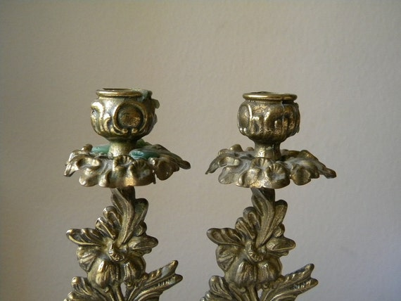 two vintage candlesticks brass candlesticks