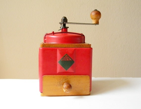 vintage coffee grinder moulin a cafe red coffee mill