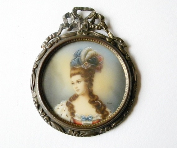 french hand painted miniature painting.