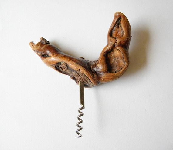 vintage wooden corkscrew