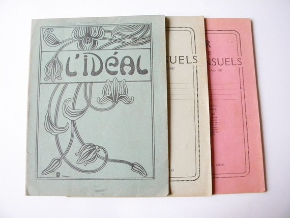 3 vintage french notebooks 3 handwritten school notes 1930s