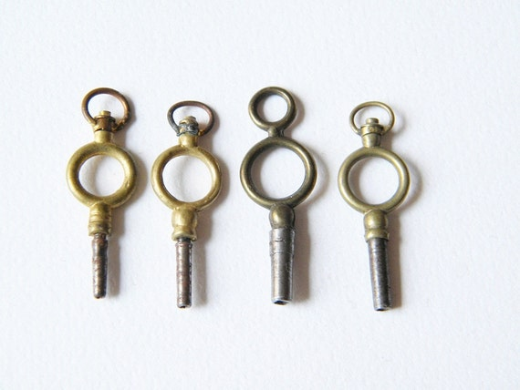 antique french watch keys 4 tiny watch keys