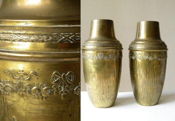 large vintage vases 2 vintage brass vases