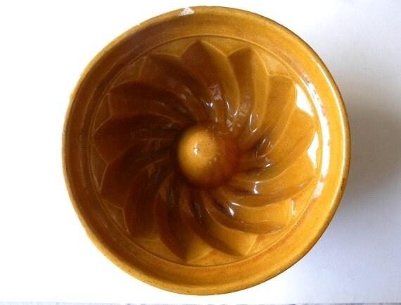 vintage earthenware mold vintage cake dessert pan french kugelhopf mold
