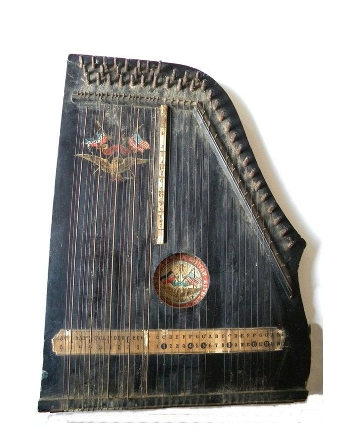 antique harp german lap harp