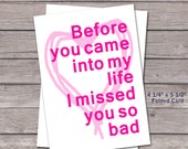 Miss You - A2 Folded Card, Blank Inside, Includes Envelope, Love you, Personal note, New Love