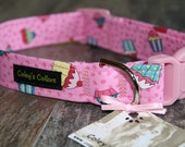 "Cupcake Dog Collar, Dog Collar, Dog Collars, Girl Dog Collar, Boy Dog Collar, Modern Dog Collar, Pink Dog Collar, ""Sweet Treats"""